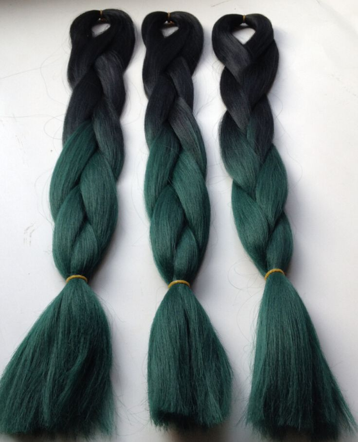 New teal green Hair ombre color box braids