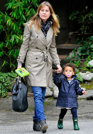 """Ellen Pompeo and Stella  """"It's a huge lifestyle change, and I take that very seriously,"""" Pompeo has said of mothering her daughter (out in Silverlake, Calif) with music producer hubby Chris Ivery."""