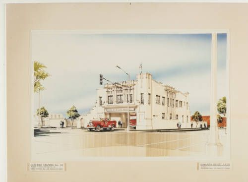 fickett-firestation-001~1 :: Rendering, Old Fire Station No. 30, 1994 :: Edward H. Fickett, FAIA, Collection. http://digitallibrary.usc.edu/cdm/ref/collection/p15799coll25/id/205