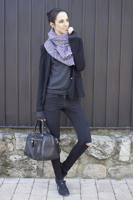 black outfit w/ ethnic scarf