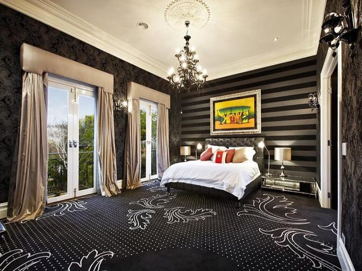 modern bedroom design idea with carpet french doors using white colours bedroom photo 375214