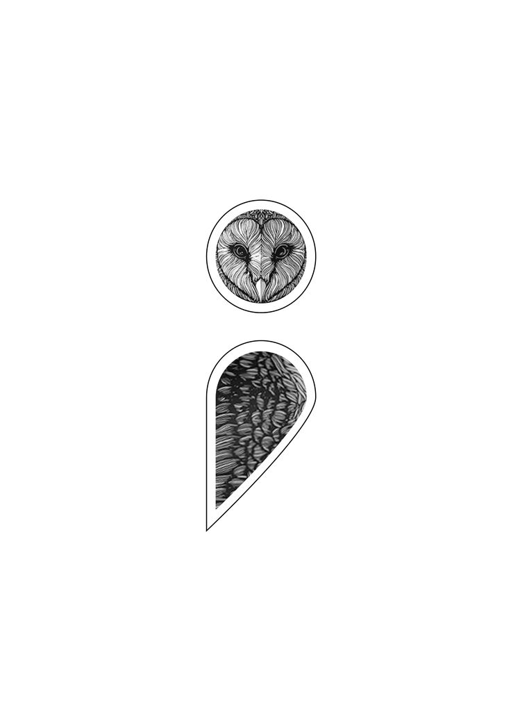 Semicolon owl tattoo concept....needs less detail but its definitely getting there