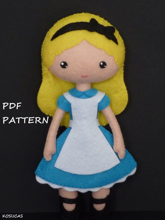 PDF sewing pattern to make the doll felt inspired in Alice 7.8 inches tall.  It is not a finished doll.  Includes tutorial with pictures and step by step explanation.  For hand sewing.  Difficulty: medium  Instructions in Spanish-English.  Things to do with this pattern can be sold in your own shop.  Mass production, re-sale and distribution of pattern pieces and instructions is Expressly prohibited.  Dolls made from this pattern are not suitable for children under 3.  Instant download.  If…