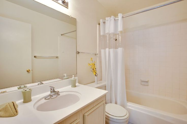 Historical Pasadena Apartment Building: Awesome Photo Pasadena Apartments With Small Bathroom Remodel Also Bathroom Sink Modern Wall Mirror And White Colour Bathroom Tile With Bathroom Curtain Along With Small Vase Flower ~ surrealcoding.com Apartments Inspiration