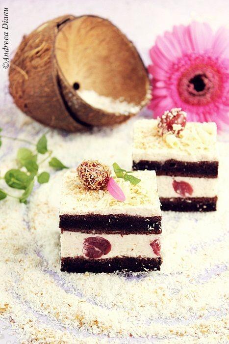 Prajitura cu blat pufos de cacao, crema aromata cu nuca de cocos si visine acrisoare, combinatie perfecta de arome si culori.