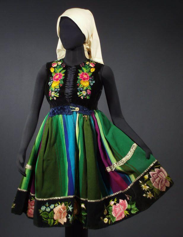 Antique Folk Costume Dress from Lowicz, Poland