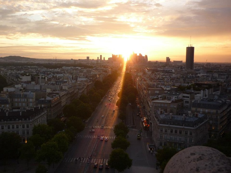 My daughter & husband are in Paris right now! Paris at sunset, looking over champs de elysee