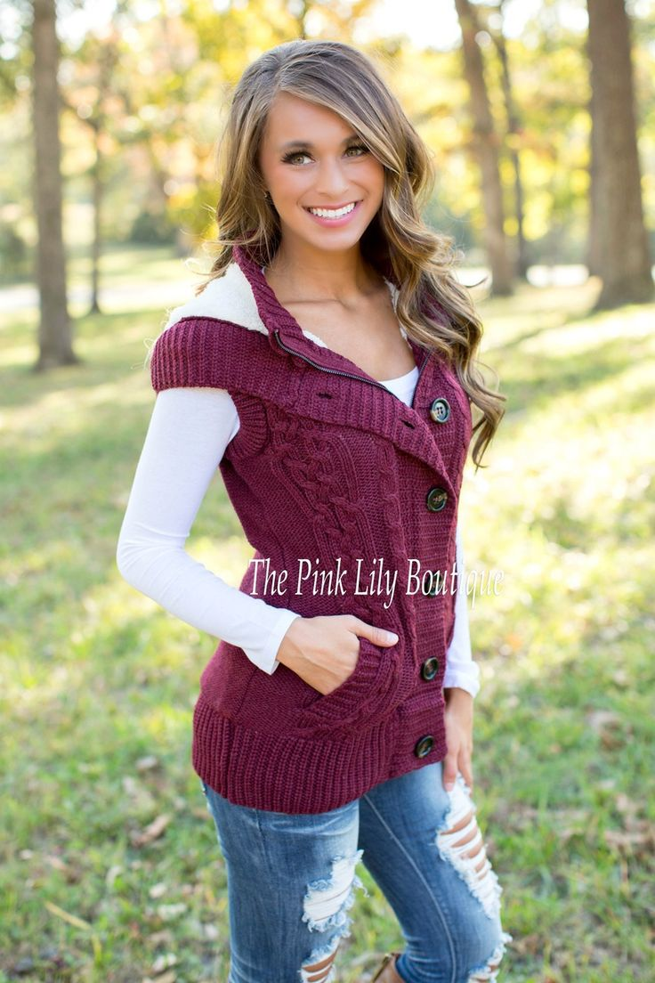 The Pink Lily Boutique - Comfort and Class Burgundy Sweater Vest ...