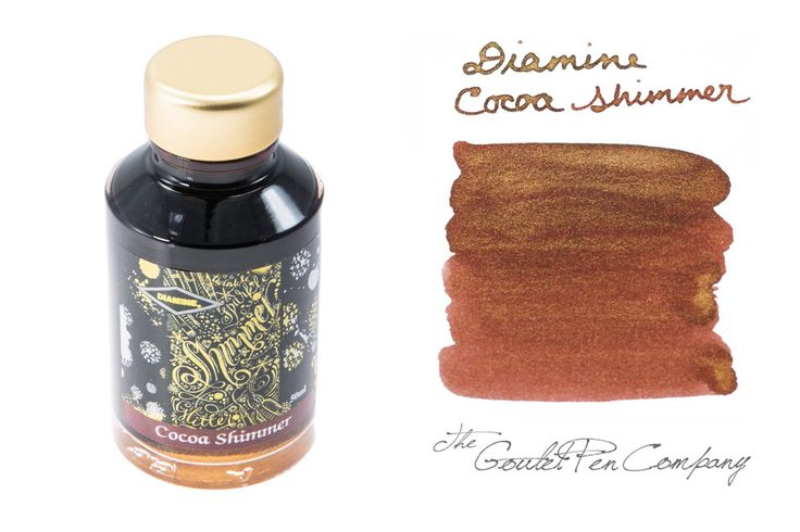 Diamine Cocoa Shimmer fountain pen ink - pretty chocolate brown with gold sparkles. Delicious!