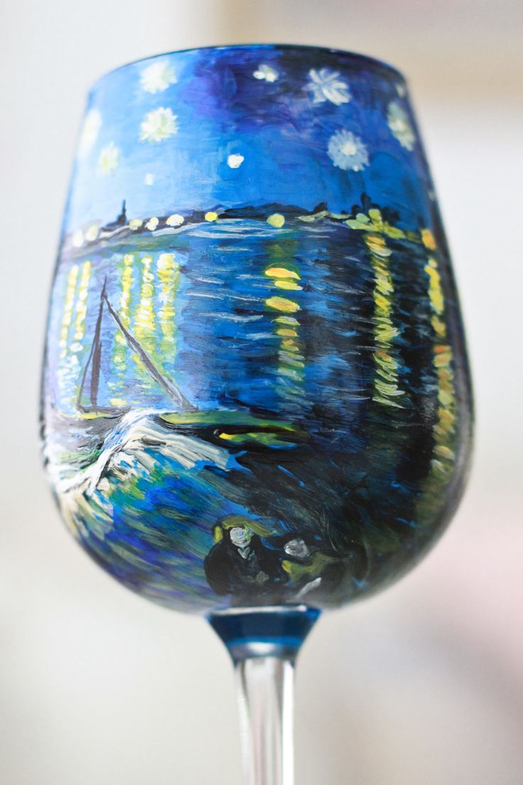 Starry Night Over the Rhone. Hand painted wine glass. Click the link to go to my etsy page! #vangogh https://www.etsy.com/listing/159593350/van-gogh-inspired-hand-painted-wine?ref=shop_home_active
