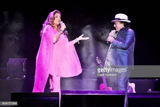 Singer Romina Power And Al Bano Perform Live On Stage During A
