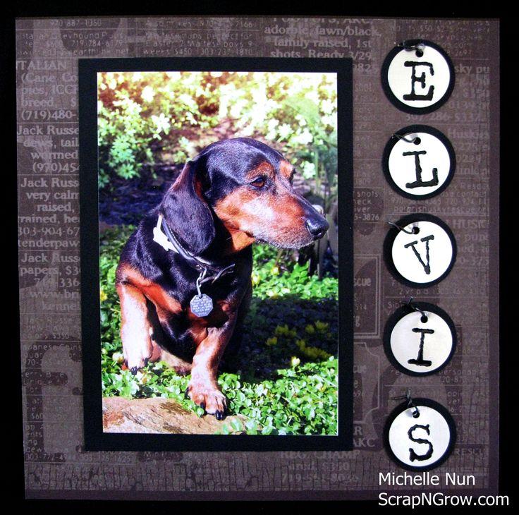 Dog Scrapbook Album Page. Visit www.scrapngrow.com for more information.  Wonderful title page!!