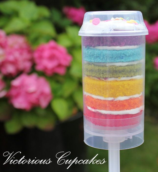 Rainbow cake push up by VictoriousCupcakes