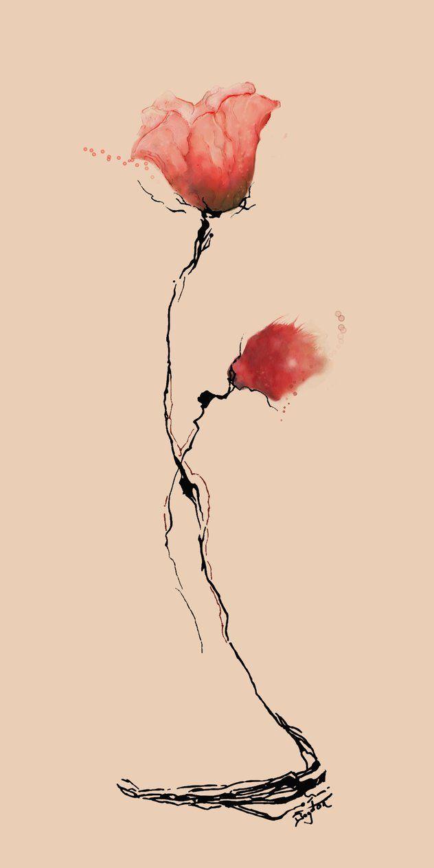 Poppy Flower Watercolor by Boogiemanu