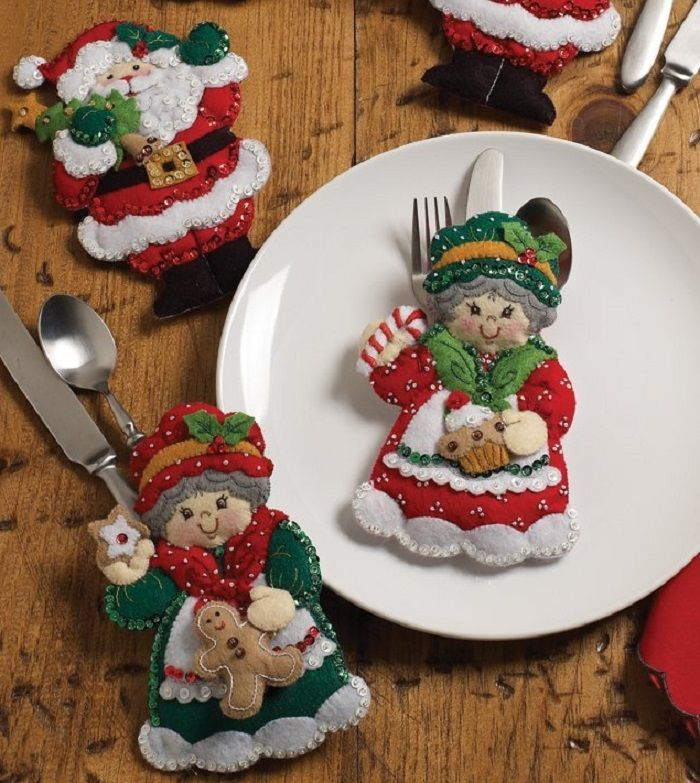 Santa & Mrs. Santa Silverware Holders