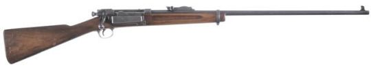 Springfield M1898 Krag-Jørgensen rifle    Designed by the Norwegians Ole Herman Johannes Krag and Erik Jørgensen and manufactured by the Springfield Arsenal c.1898-1904 for the US Army - serial number 310635.  .30-40 Krag five-round 'half-capsule' fixed magazine, bolt action repeater, magazine cut-off, sporterized stock.