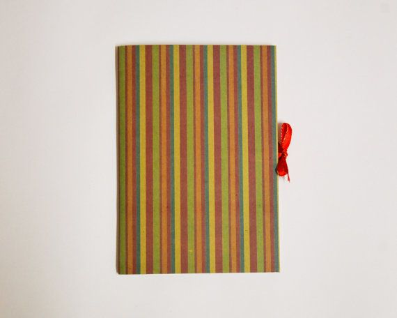 striped pattern handmade kraft notebook with ribbon
