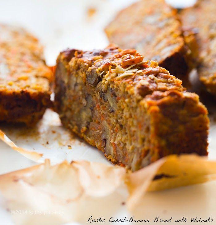 Pan rústico de zanahoria y plátano con nueces. Libre de gluten.