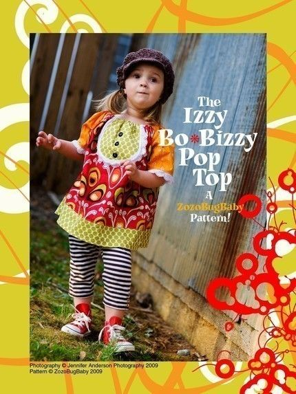 peasant top with bib front! The Izzy BoBizzy Pop Top and Dress - PDF Pattern -  ZOZOBUGBABY Patterns: Izzi Bobizzi, Baby Patterns, Bo Bizzi Pop, Zozobugbabi Patterns, Bobizzi Pop, Pdf Patterns, Pop Tops, Dresses Pdf, Sewing Patterns