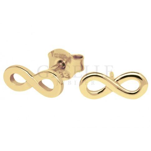 Najmodniejsze złote kolczyki z motywem nieskończoności - infinity
