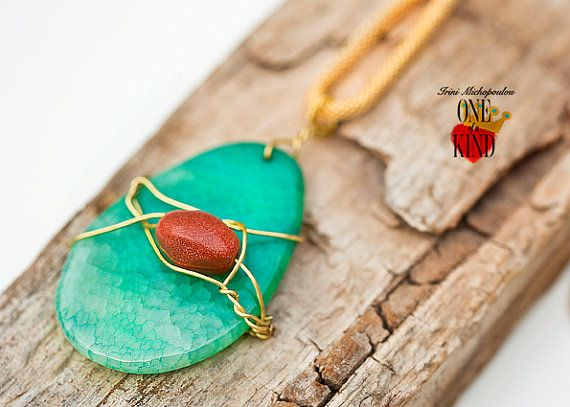 Mint  Large Agate stonependantgreen stonegold by irinimichopoulou