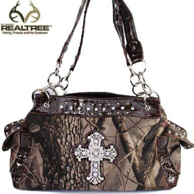 Click Here and Buy it On Amazon.com $41.99 Amazon.com: REALTREE Western Camouflage Rhinestone Gemstone Small Round Rivet Studded Cross Detailed Tote Satchel Handbag Purse with Animal Print Detailed Chain Shoulder Strap and Side Pockets in Camo and Coffee: Clothing