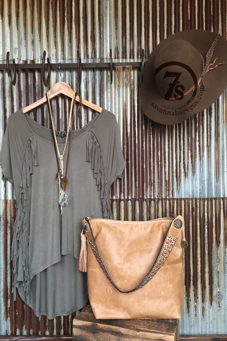 The Dumas - olive fringe hi-lo top from Savannah Sevens Western Chic
