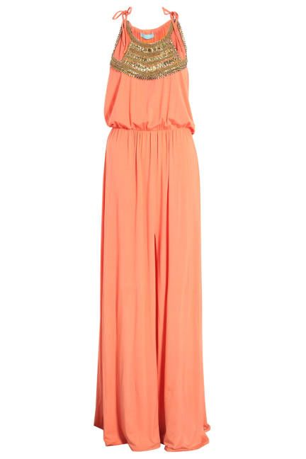 The Dress, Melissa Odabash Front Split Embellished Maxi Dress, $261.24 (on sale); my-wardrobe.com    Read more: Beach to Evening Attire - Womens Beach Accessories  Follow us: @ElleMagazine on Twitter | ellemagazine on Facebook  Visit us at ELLE.com