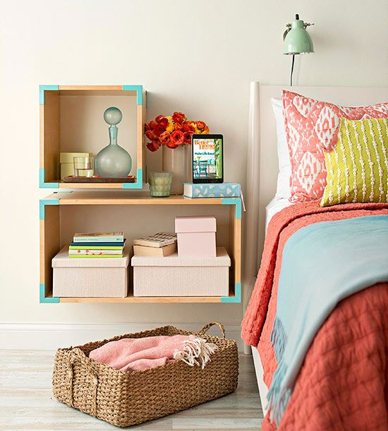 Clean up your floor! Mounting cubbies makes your room seem bigger: http://www.bhg.com/decorating/small-spaces/strategies/storage-solutions-for-small-bedrooms/?socsrc=bhgpin092214cleanupyourfloor&page=5