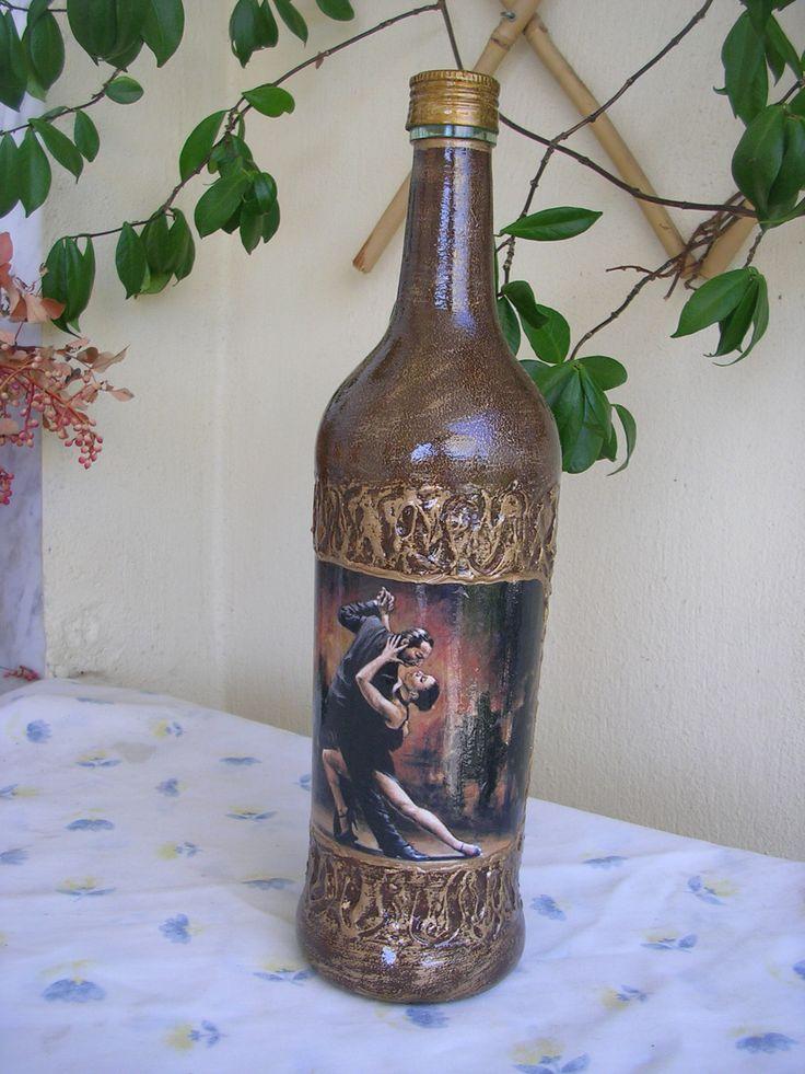 Μπουκάλι ντεκουπάζ κλασσικό σκούρο! Decoupage bottle classic dark!