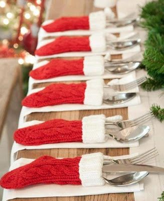 What a great idea. Dollar Store stockings for place settings on your Christmas Table!!!