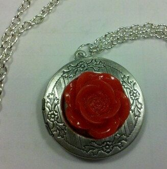 Alistair's Rose Locket Pendant in Antiqued Silver by mylondonsun