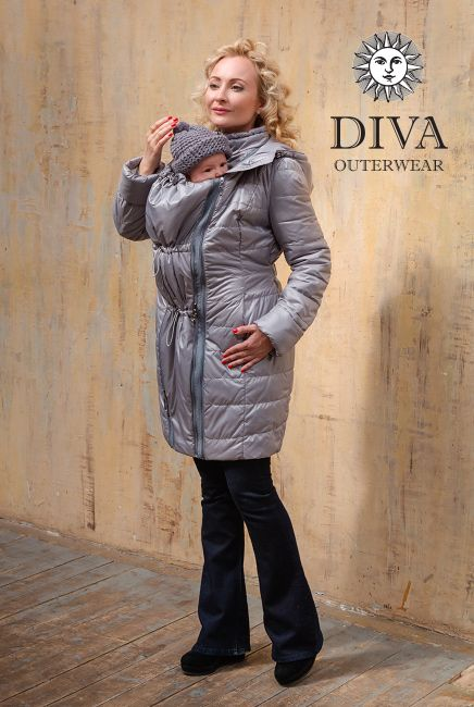 4in1 Babywearing Winter Coat Diva Pietra.  Winter coat for front carrying, back carrying, regular use or during pregnancy.