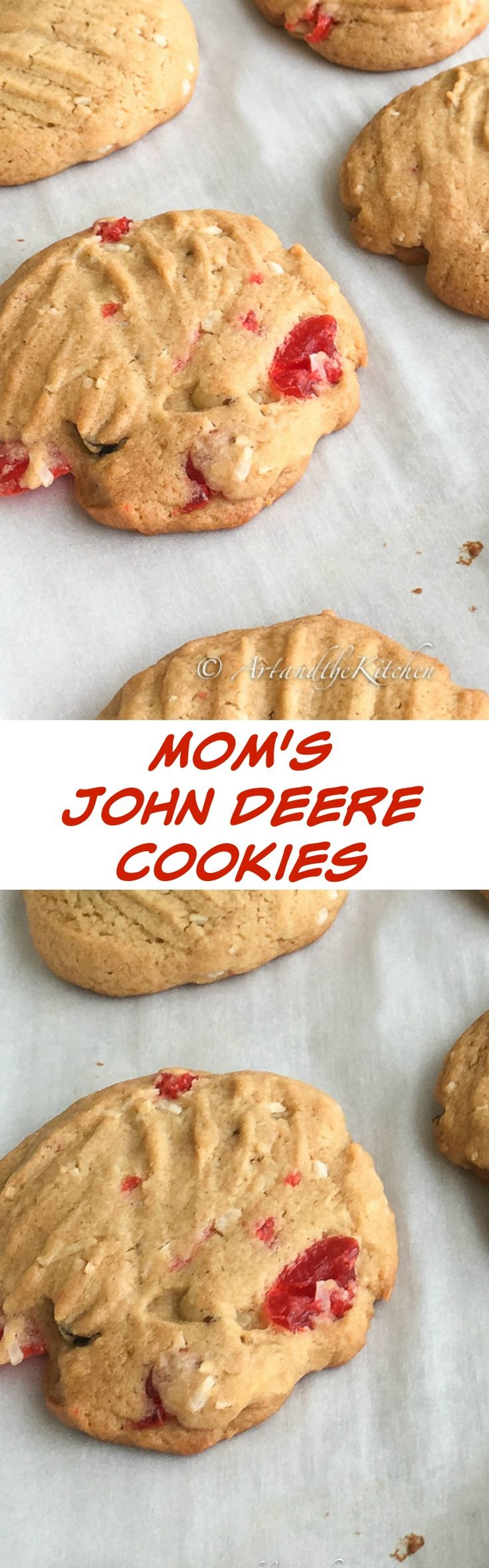 This recipe for John Deere Cookies is an old recipe of my Mom's. I have no idea why they are called John Deere cookies other than the fact that my Dad worked as a mechanic for John Deere.