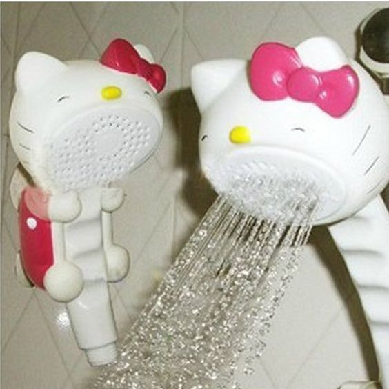 Plastic Hello Kitty Bathroom Rain Shower Head High Pressure Sprinkler Faucet Mount Set Bath Strainer With Suction Cup Mainland