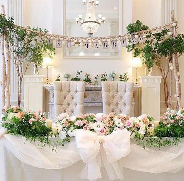 #高砂 おおきな#チュールリボン 白樺の#ウェディングアーチ #メインテーブル #marry