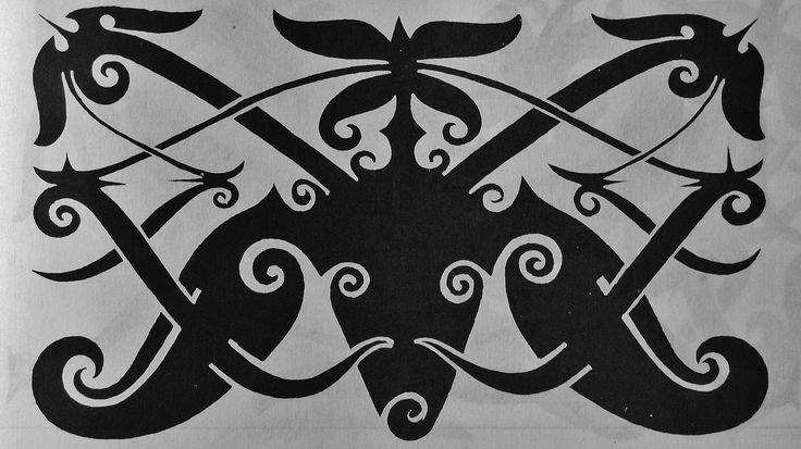 Borneo traditional Tatoo design : Buffalo head