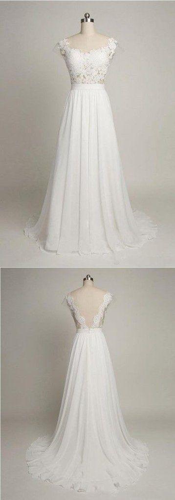 Cheap Elegant Column Scoop Neck V-back Cap Sleeve White Lace Chiffon Wedding Party Dresses,WD0091