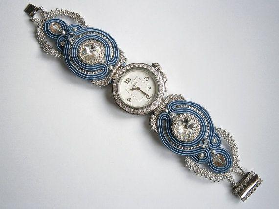 Wristwatch with handmade soutache and beadwork by AllushkaSoutache