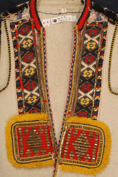 Greece, Macedonia, Florina, sleeveless woollen coat (sagias), felt, gold thread, metal foil, wool thread, saddle blanket wool fringe, beginning of 20th century