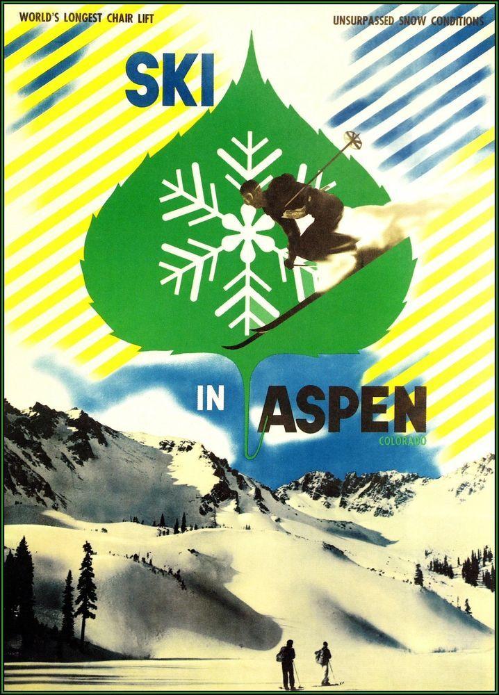Ski In Aspen Colorado 1946 Vintage Poster Art Print Winter Sports  Travel Decor #Vintage