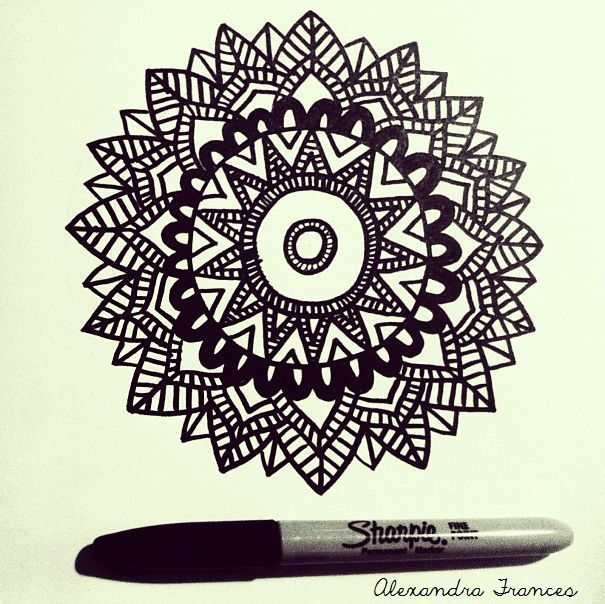 Mandala sharpie illustration drawing tattoo design by for Drawing design ideas