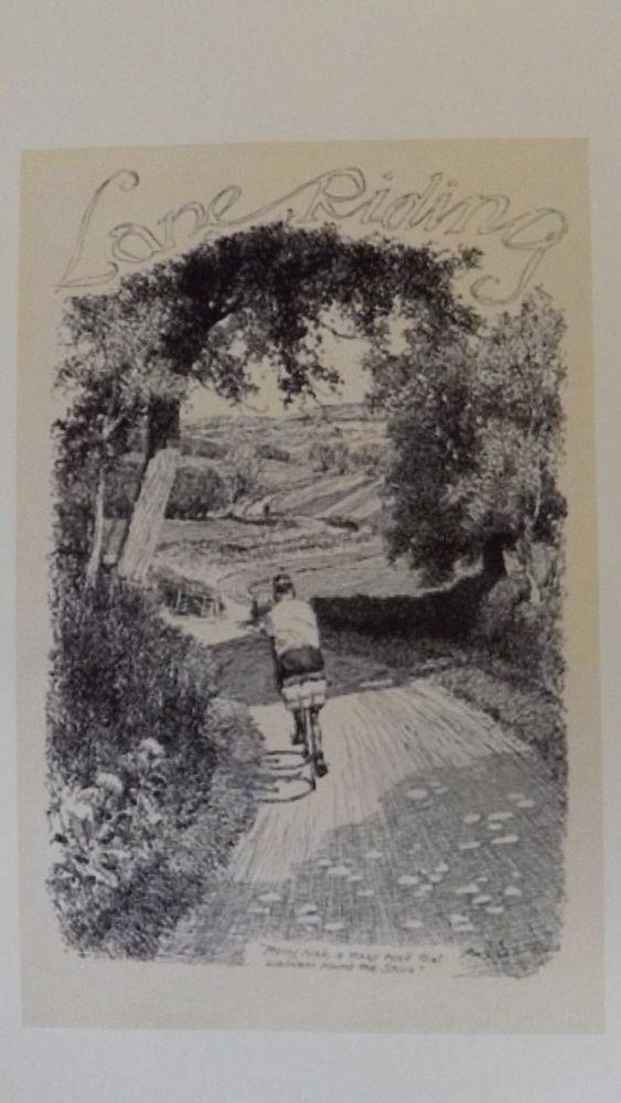 Blank Greetings Card. Cycling.Lane Riding.Vintage retro. Idyllic. £1.99