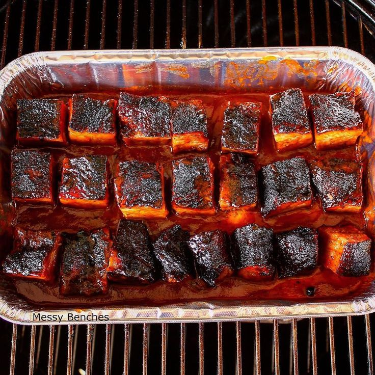 Burnt ends in a bath of our Espresso BBQ Sauce, butter and honey. All aboard the Weber Smokey Mountain