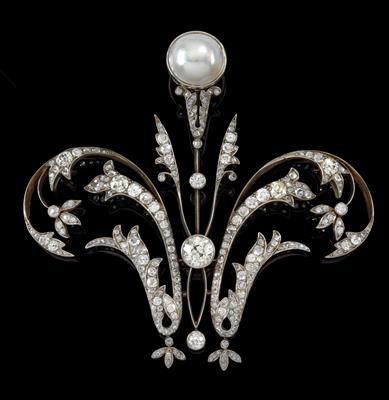A diamond, and natural pearl brooch.