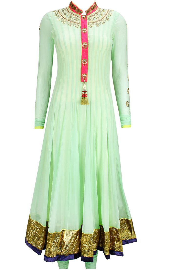 Sea green and yellow pearl embroidered anarkali set available only at Pernia's Pop-Up Shop.