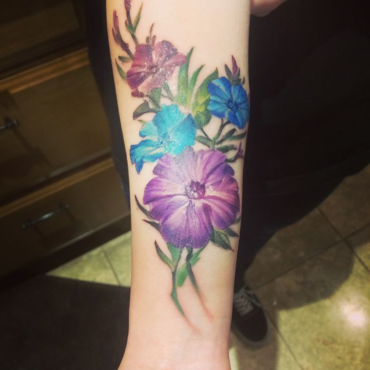 Petunia flower tattoo, done by Merv at Black Lotus Tattoo Studio and Art Gallery 2017