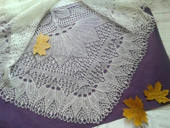 Knitted Lace Shawl in white Mohair Silk blend yarn. Wedding