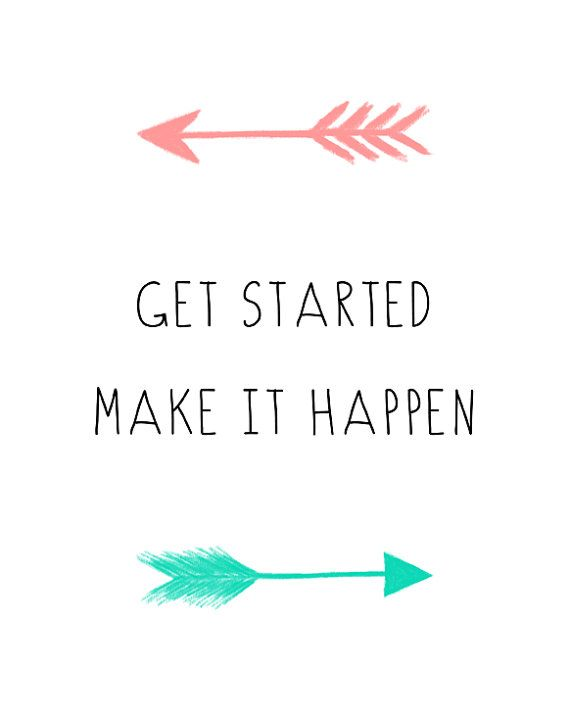 Get Started Inspirational Motivational Quote Mint Coral Printable Instant Download by EllieLaneShop