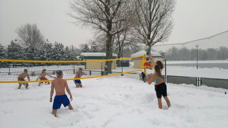 Volleyball in snow